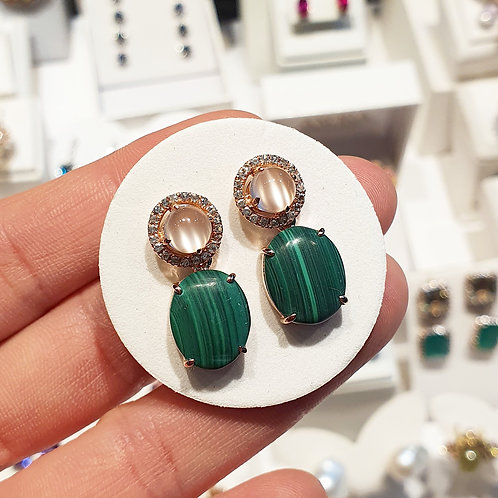 Moonstone constellation studs and natural Malachite