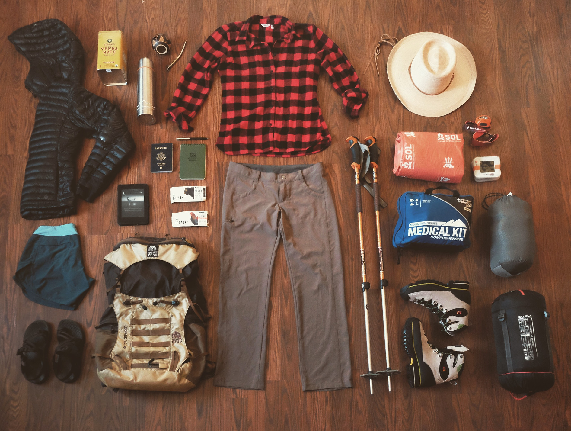 Gear for hiking mountains in Nepal