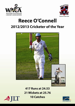 Reece O'Connell 201213 cricketer of the year