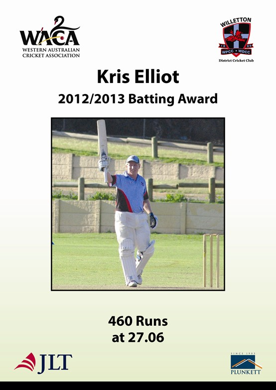 Kris Elliot 201213 batting award