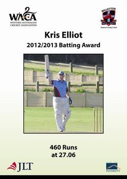 Kris Elliot 201213 batting award