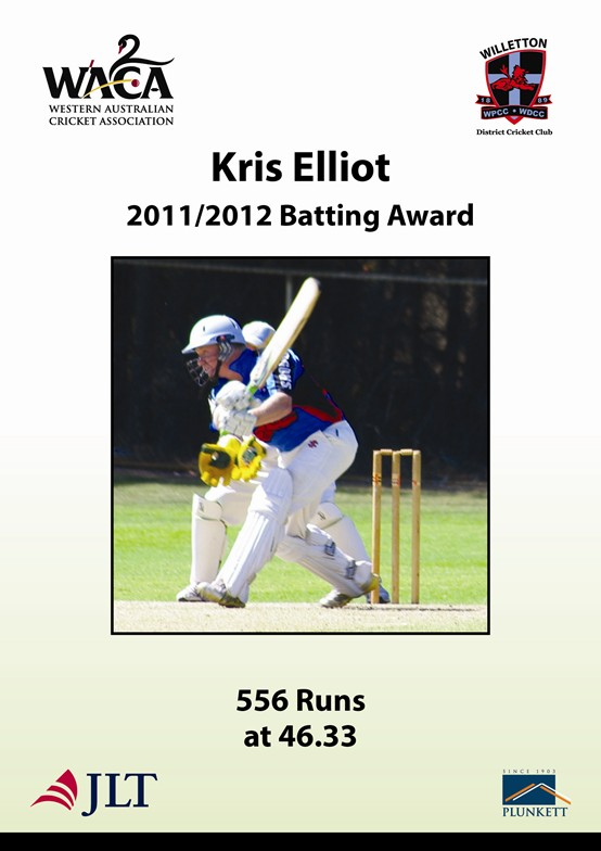 Kris Elliot 201112 batting award