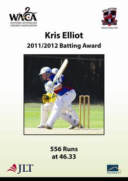 Kris Elliot 201112 batting award