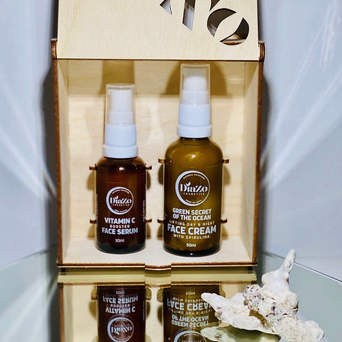 Vitamin C Booster Face Serum 30ml & Face Cream with Spirulina 50ml-Gift Set