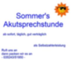 Sommer's Akutsprechstunde täglich in Niederau