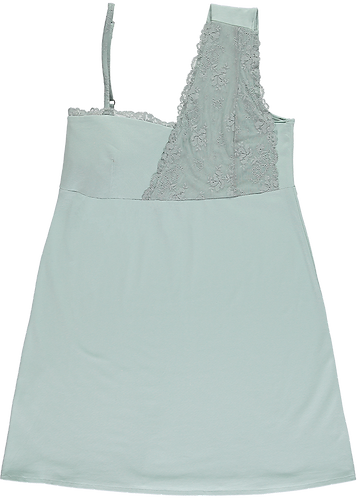 Jersey negligé met turquoise kant