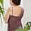 Thumbnail: Aubergine kleurige zijden negligé met kant