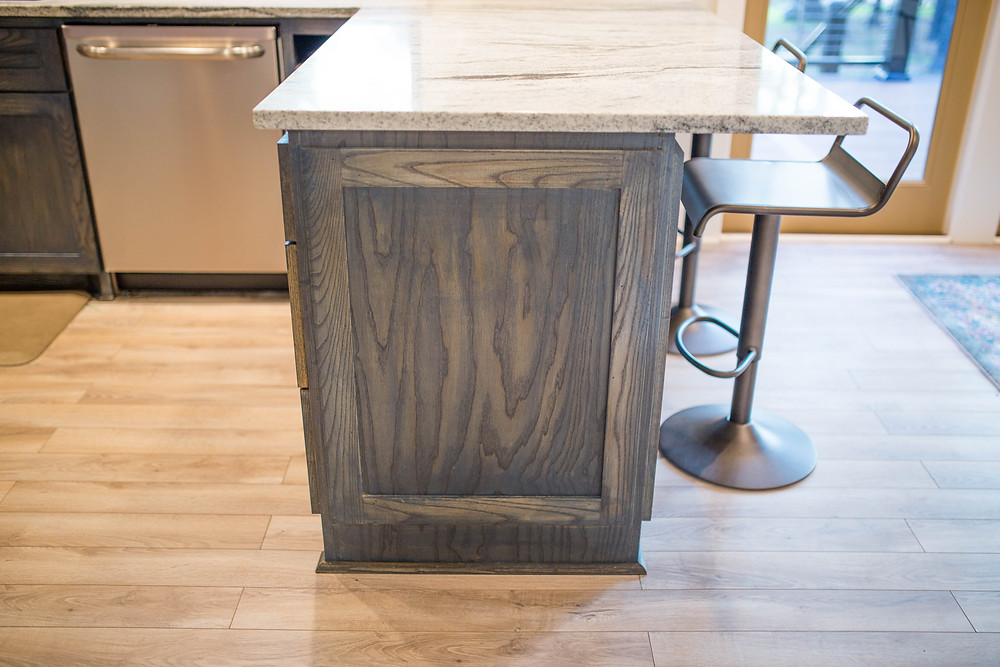 Nori's Ash Cabinets with Cathedral Grain and Navy Stain