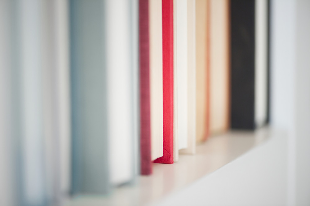A row of books on a shelf