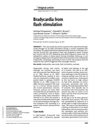 Bradycardia from Flash Stimulation