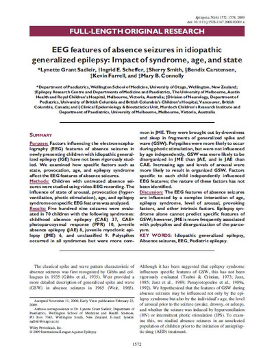 EEG features of absence seizures in idiopathic generalized epilepsy: Impact of syndrome, age and state