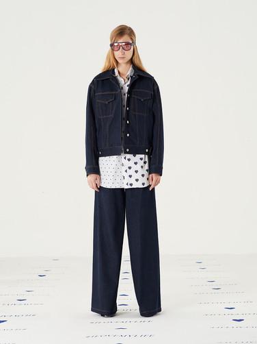 Too Important Jean Jacket-Navy = THB 6,200 Cut n Add Hearts Shirt-White = THB3,250