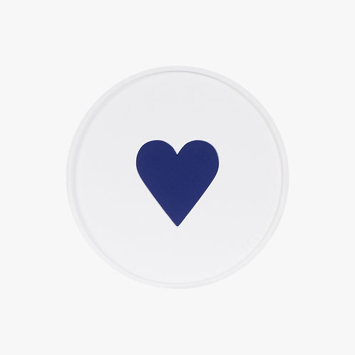 Glass Coaster Navy Heart