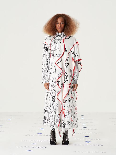 Cut n Add Graphic Satin Dress = THB 6,200 Too Important Striped Heart Shirt - Black = THB3,200