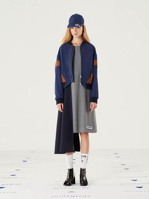 Too Imortant Poly Jacket - Navy = THB 5,200 Cut n Add Stripes Wool Dress = THB 5,200