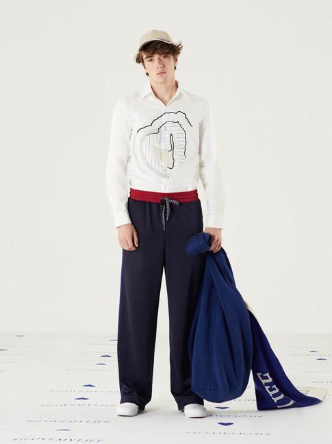 Cut n Add Graphic Heart Shirt -White = THB 3,250 Too Important Warm Pant - Navy = THB 2,490 I Love My Life Scarf = THB4,890