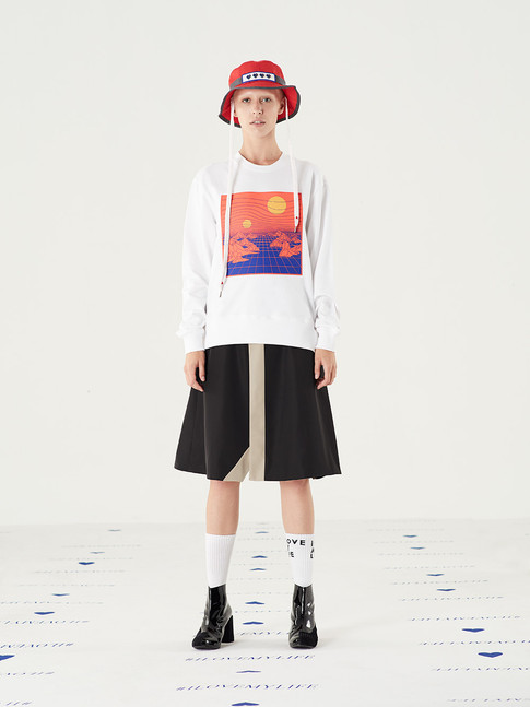 Mission Heart Hat - Red = THB 1,450 Space Silicone Sweater - White = THB 2,290 Too Important Poly Skirt - Black = THB 2,890
