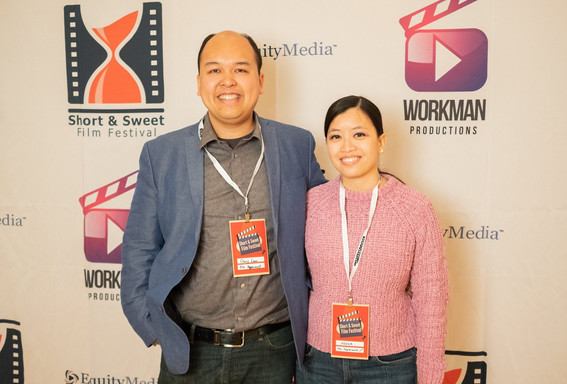 On the red carpet at the Short and Sweet Film Festival!