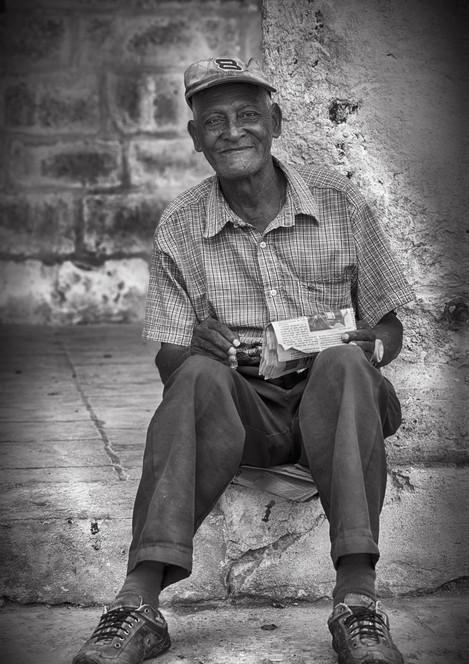 Portrait old Cuban man in Havana