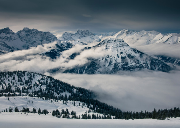 Winter landscape in the Karwendel Mountains on Schafreuter