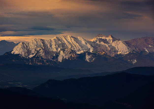 Wettersteingebirge bei Sonnenaufgang