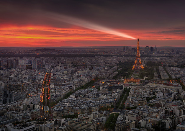 Paris from above at sunset