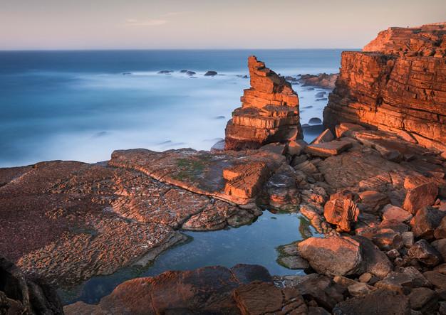 Peniche rocky coast in sunset
