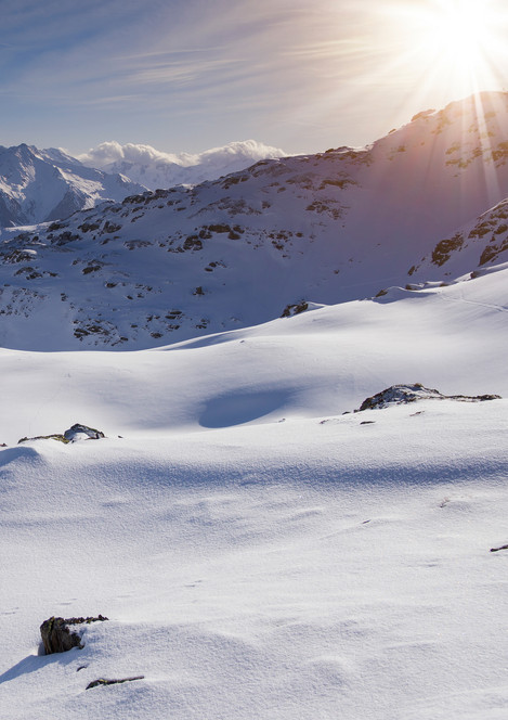 Winter landscape in the mountains in the Zillertal