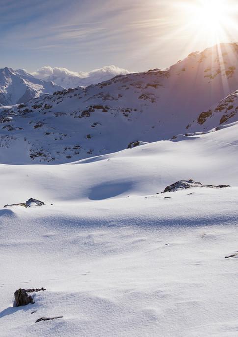 Winterlandschaft in den Bergen im Zillertal