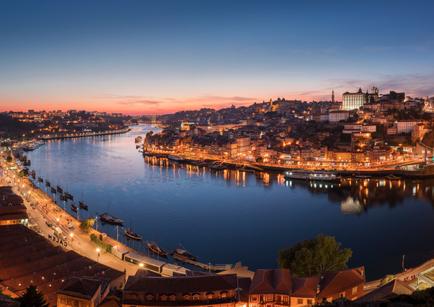 Panorama of Porto in the evening
