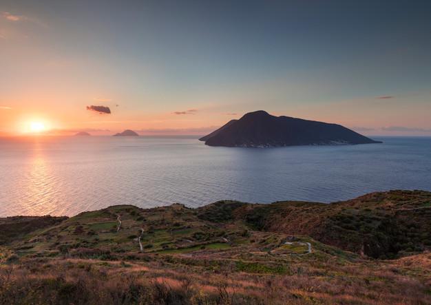 Salina volcanic island in sunset