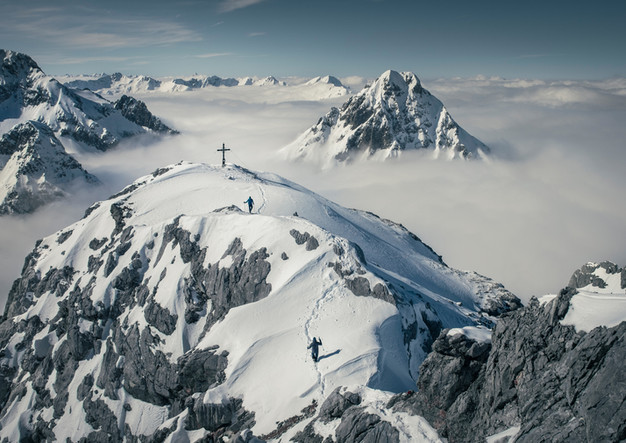 Winter Gipfel Hinterer Tajakopf mit Bergpanorama