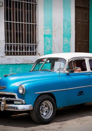 Classic blue car in Havana Vieja