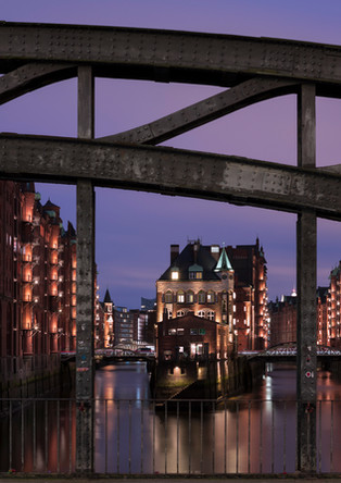 Hamburg Speicherstadt with moated castle