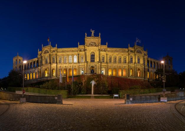 Illuminated Maximilianeum in Munich at night
