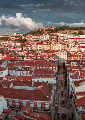 Lissabon Praca Dom Pedro Panorama