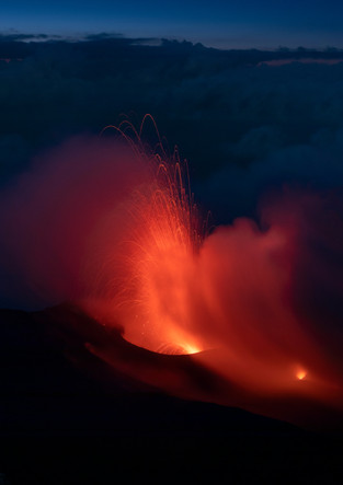 Volcanic eruption on Stromboli