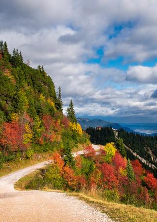 Wanderweg am Kreuzeckhaus mit Herbstlaub