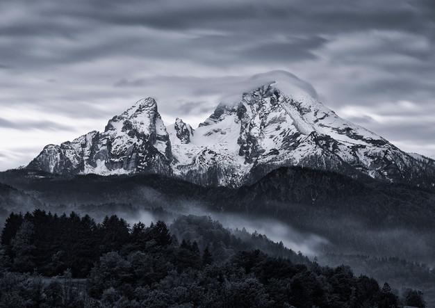 Verschneite Gipfel des Watzmann in Berchtesgaden