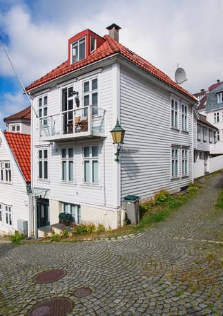 Norwegische Holzhäuser in Skansen, Bergen