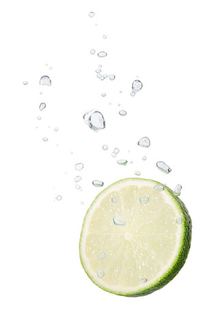 Lime in the water with air bubbles