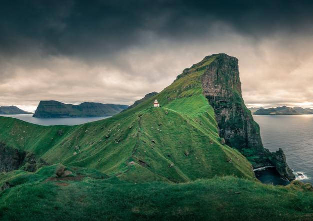 Panorama am Leuchtturm von Kalsoy, Färöer Inseln