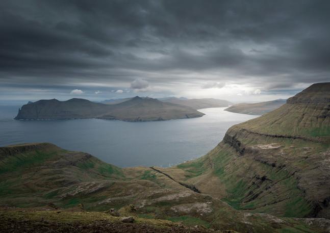 Panorama von Streymoy und Vagar mit Wolken