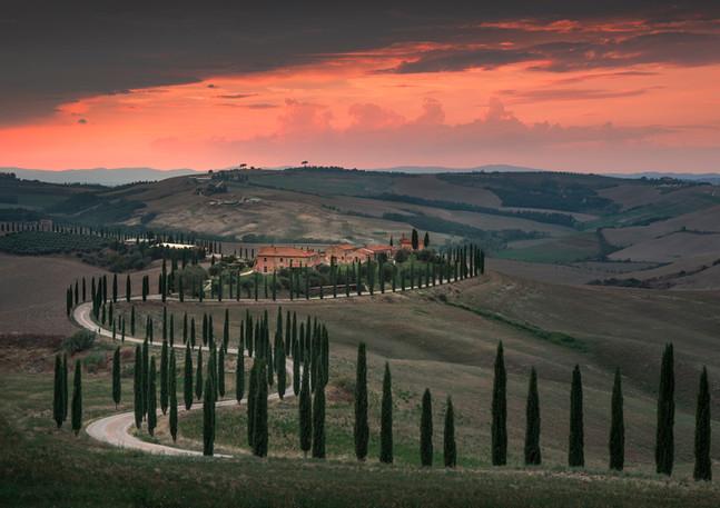 Baccoleno Toskana bei Sonnenuntergang