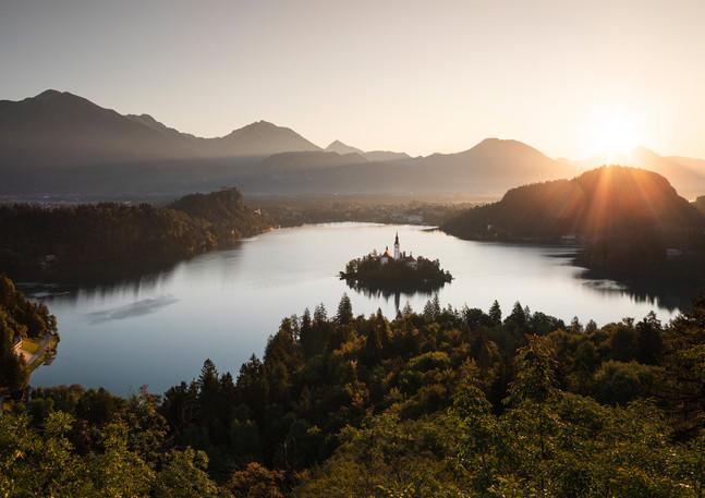 Bleder See Panorama in Slowenien