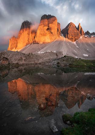 Drei Zinnen Alpenglühen mit See, Dolomiten