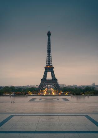 Eiffel Tower in sunrise at Trocadero