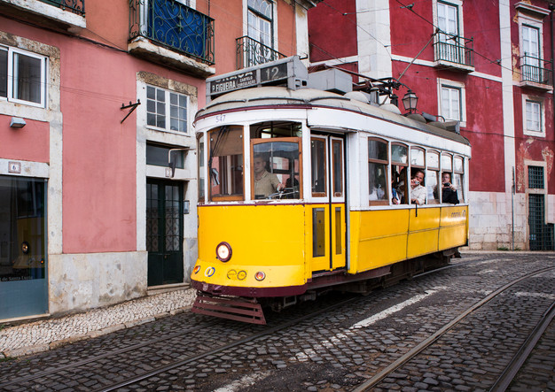 Lisbon tram in the Alfama