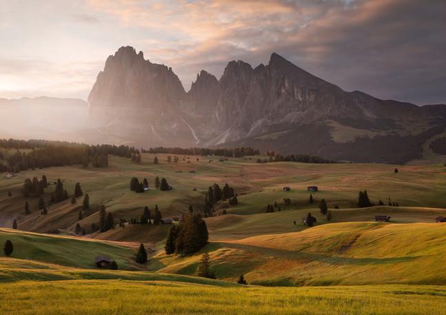 Sonnenaufgang Seiser Alm, Dolomiten