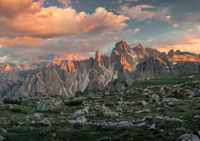 Panorama Alpenglühen der Dolomiten